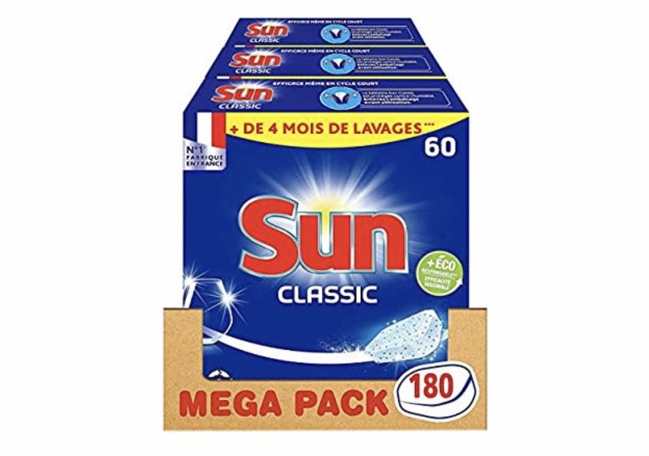 Lot de 3 paquets de 60 tablettes pour lave-vaisselle Sun Classic - 180 Tablettes