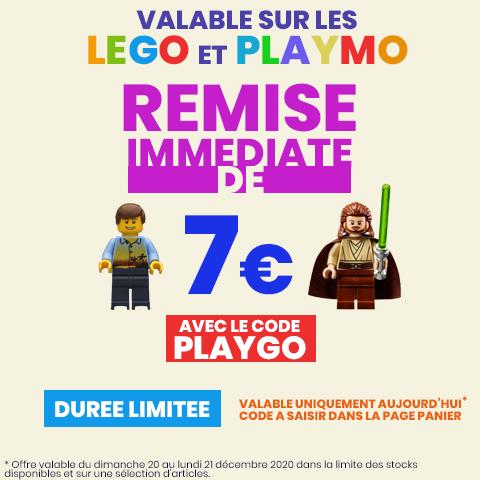 7€ de réduction sur une sélection d'articles Lego et Playmobil