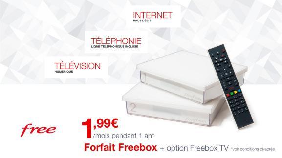 Forfait mensuel Freebox Crystal + Option Freebox TV pendant un an