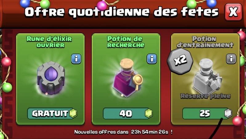 Rune d'elixir MDO Offerte & potions en Promotion pour Clash of Clans sur Android & iOS (Dématérialisées)