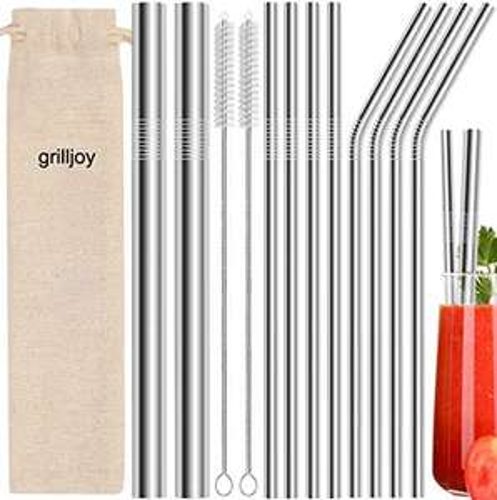 Lot de 10 pailles réutilisables en inox avec 2 brosses de nettoyage et sac de rangement Grilljoy (vendeur tiers)