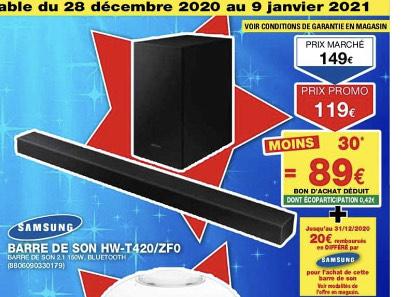Barre de son Samsung HW-T420/ZF0 (Via BA de 30€ + ODR de 20€) - Marignier (74)