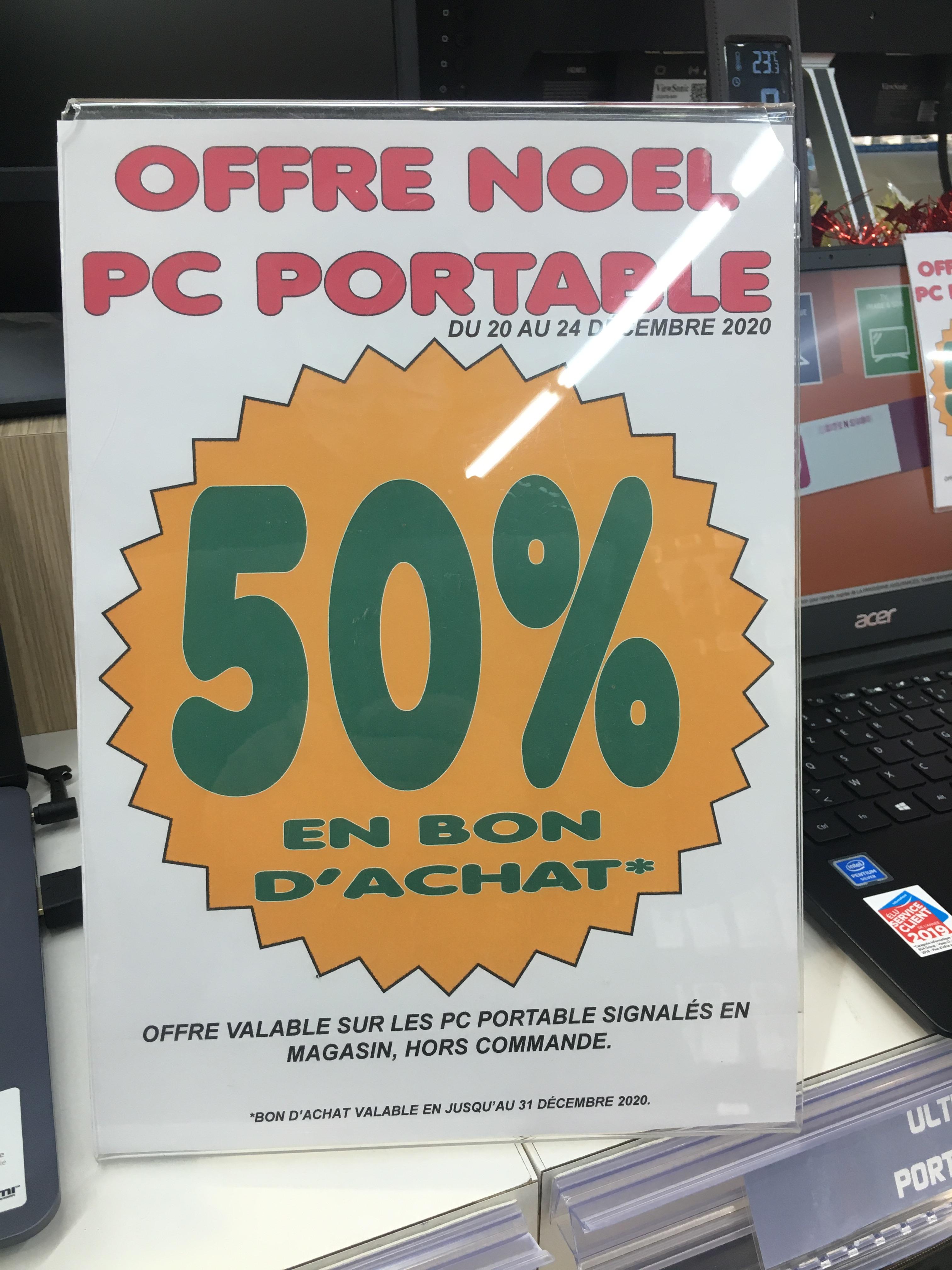 50% offerts en Bons d'achat sur une sélection de PC portable - Saint Maur cap sud (36)