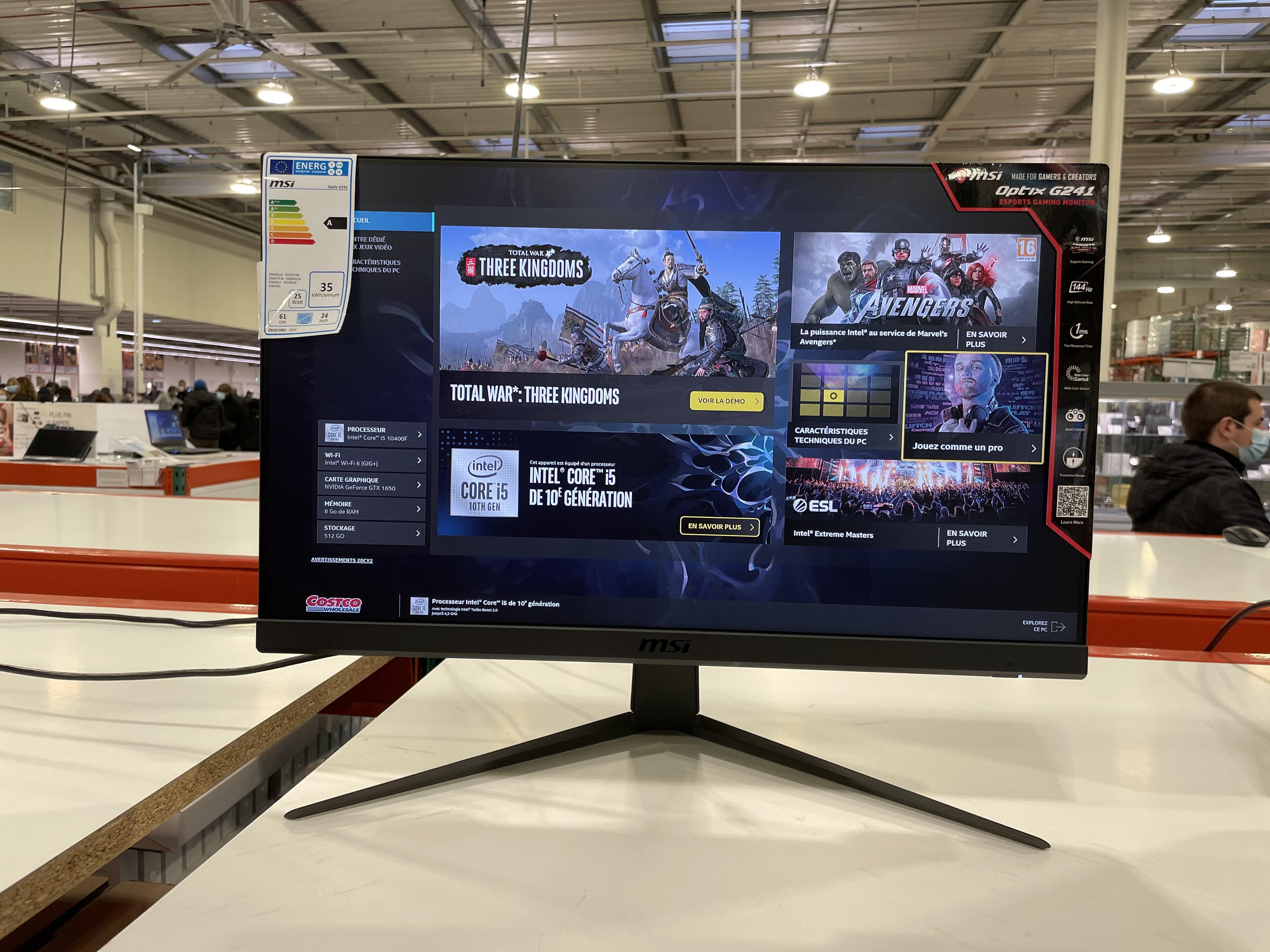 "[Carte CostCo] Écran PC 24"" MSI Optix G241 - Full HD, Dalle IPS, 144 Hz, 1 ms, FreeSync - Villebon-sur-Yvette (91)"