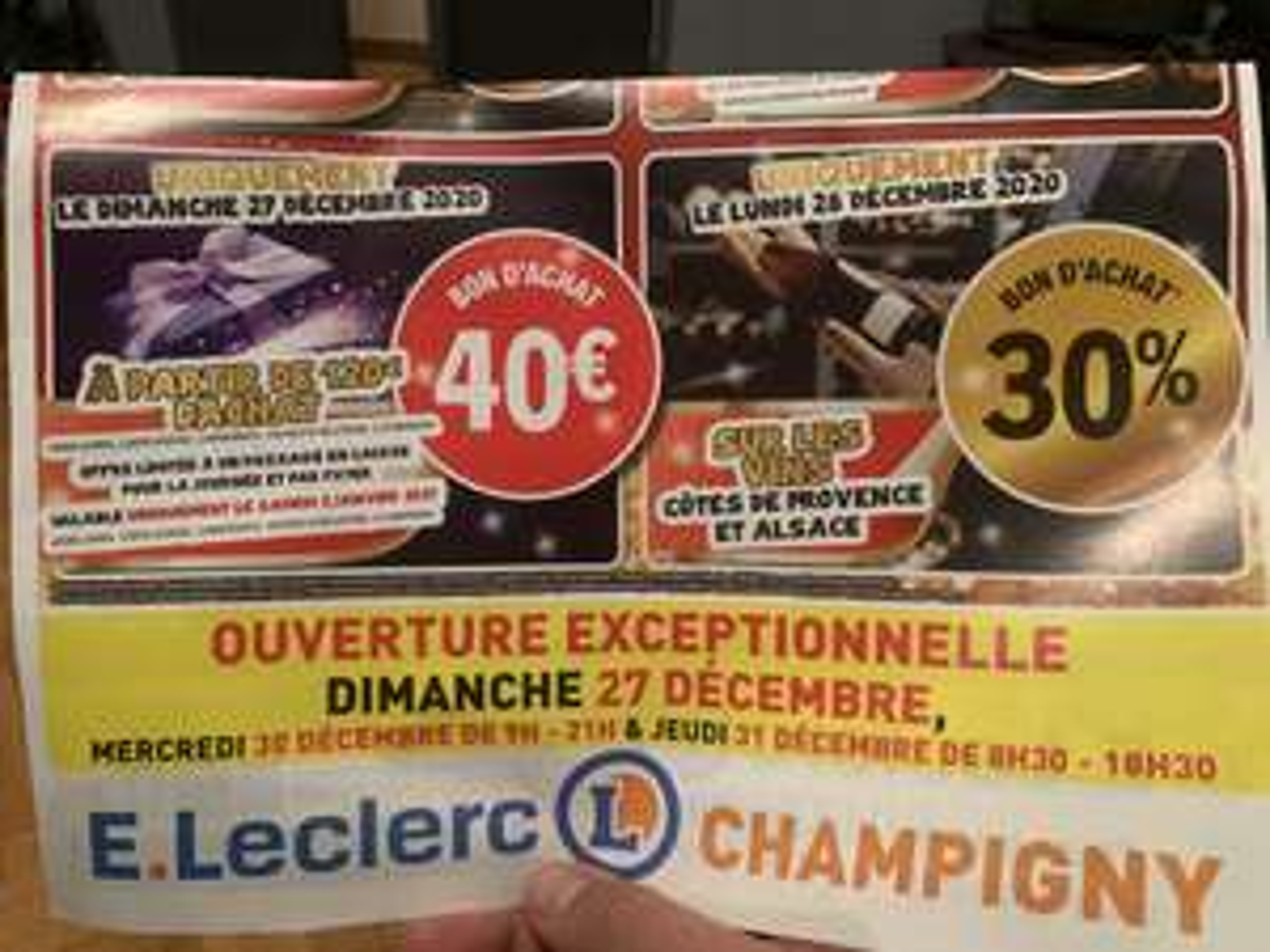 40€ en bon d'achat dès 120€ d'achat sur tout le magasin (hors exceptions) - Champigny-sur-Marne (94)