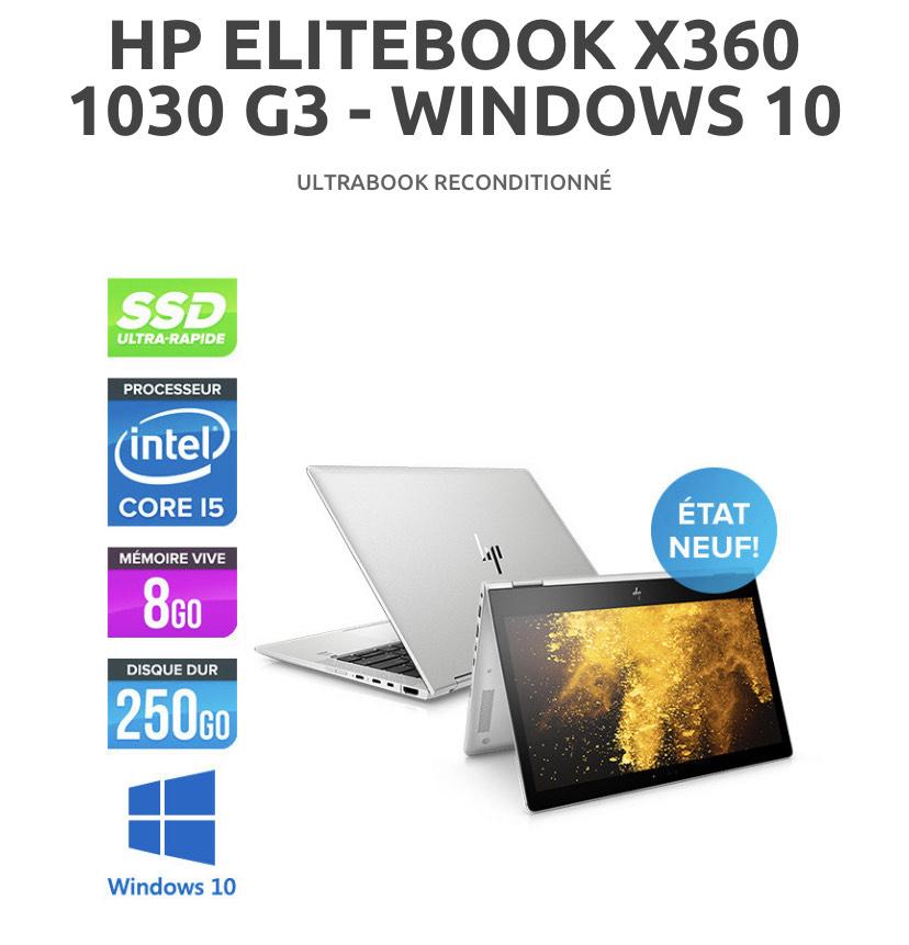 "PC Portable Tactile 13.3"" HP ELITEBOOK X360 1030 G3 - FHD, i5-8350U, RAM 8Go, SSD 256Go, FHD, Windows 10 (Reconditionné)"