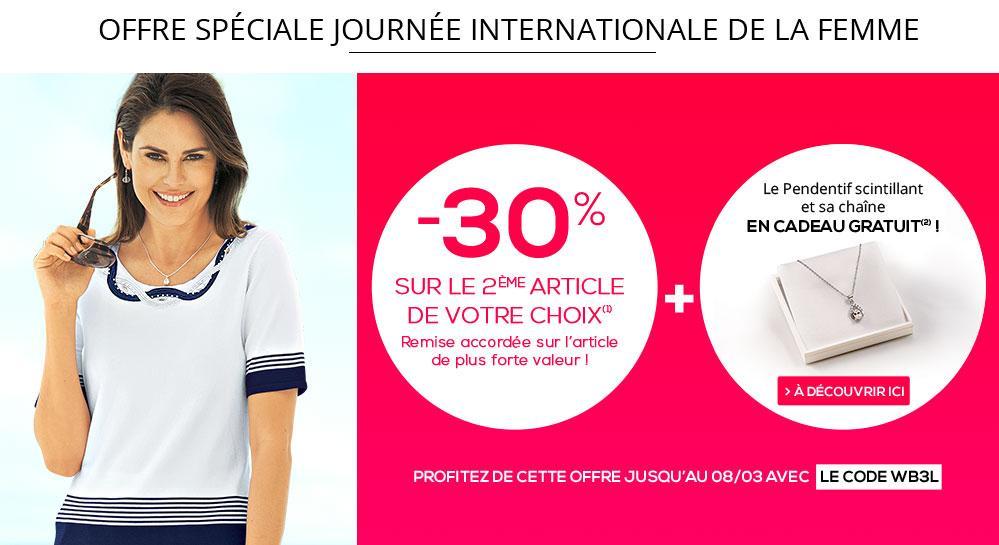30% de réduction immédiate sur l'article le plus cher dès 2 articles achetés + pendentif et chaîne offerts
