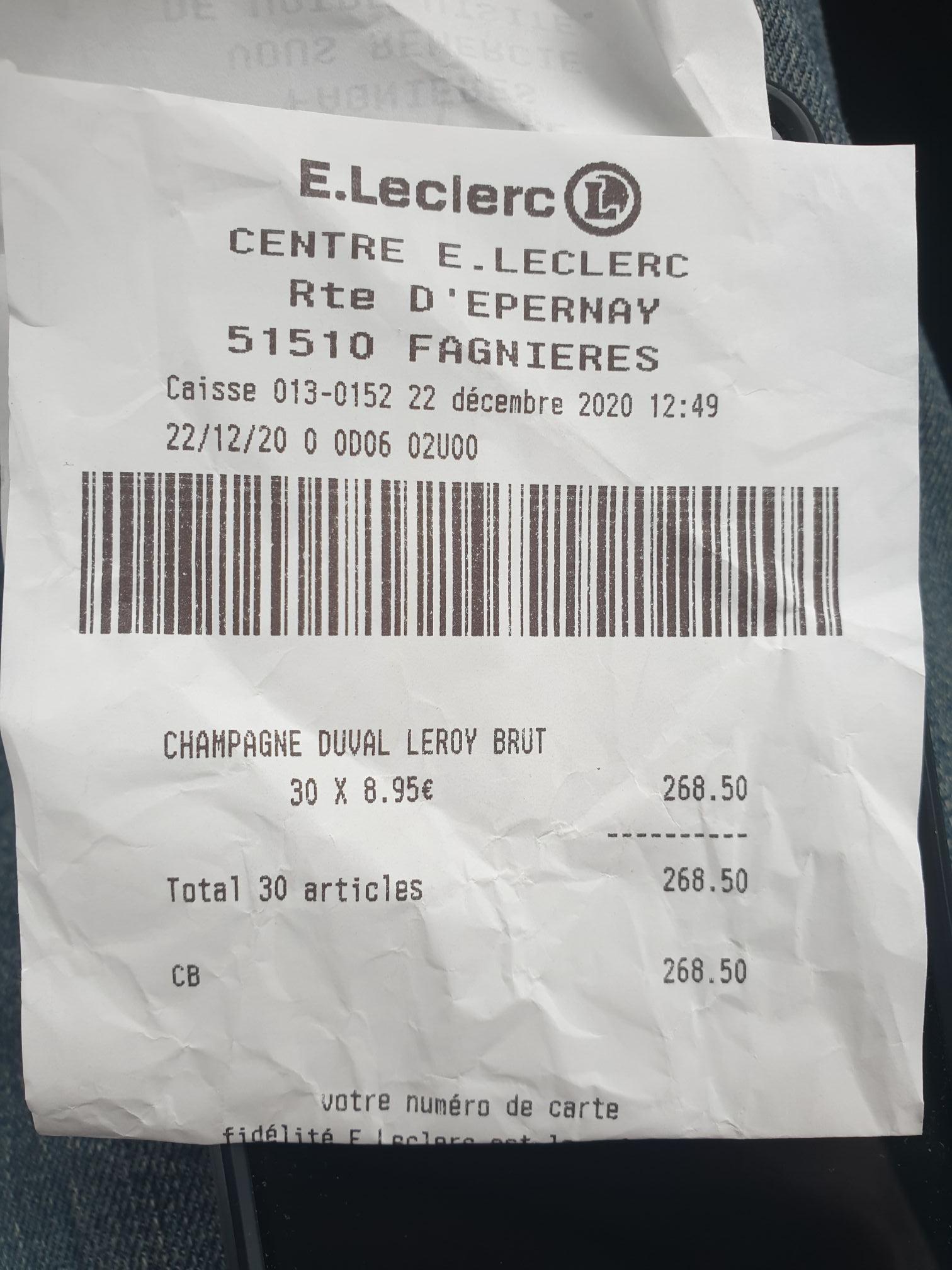 Bouteille de Champagne Duval-Leroy Brut 75 cl - Fagnières (51)