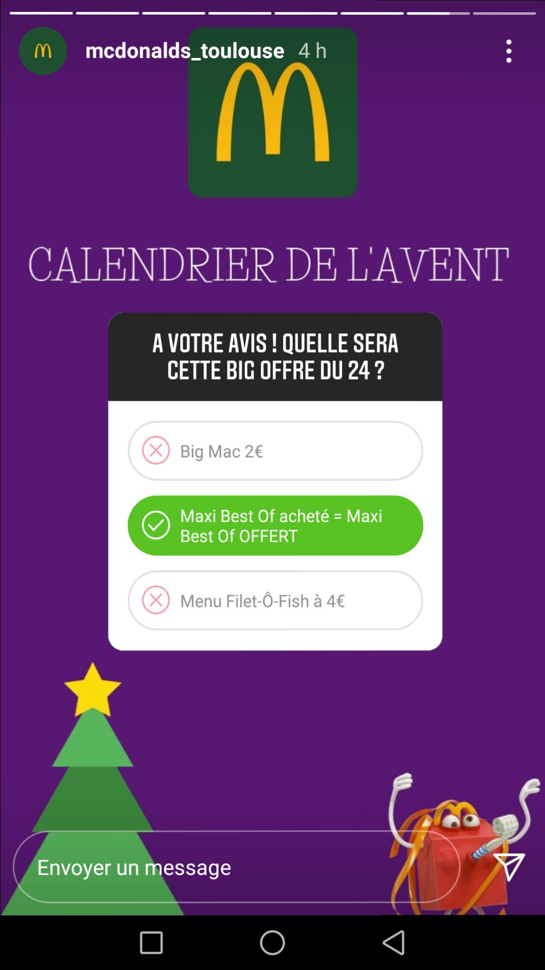 1 menu Maxi Best Of acheté = 1 menu Maxi Best Of offert - Toulouse (31)