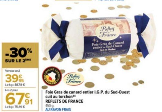 Lot de 2 foies gras de canard entier cuit au torchon reflet de France - 2 x 450 g