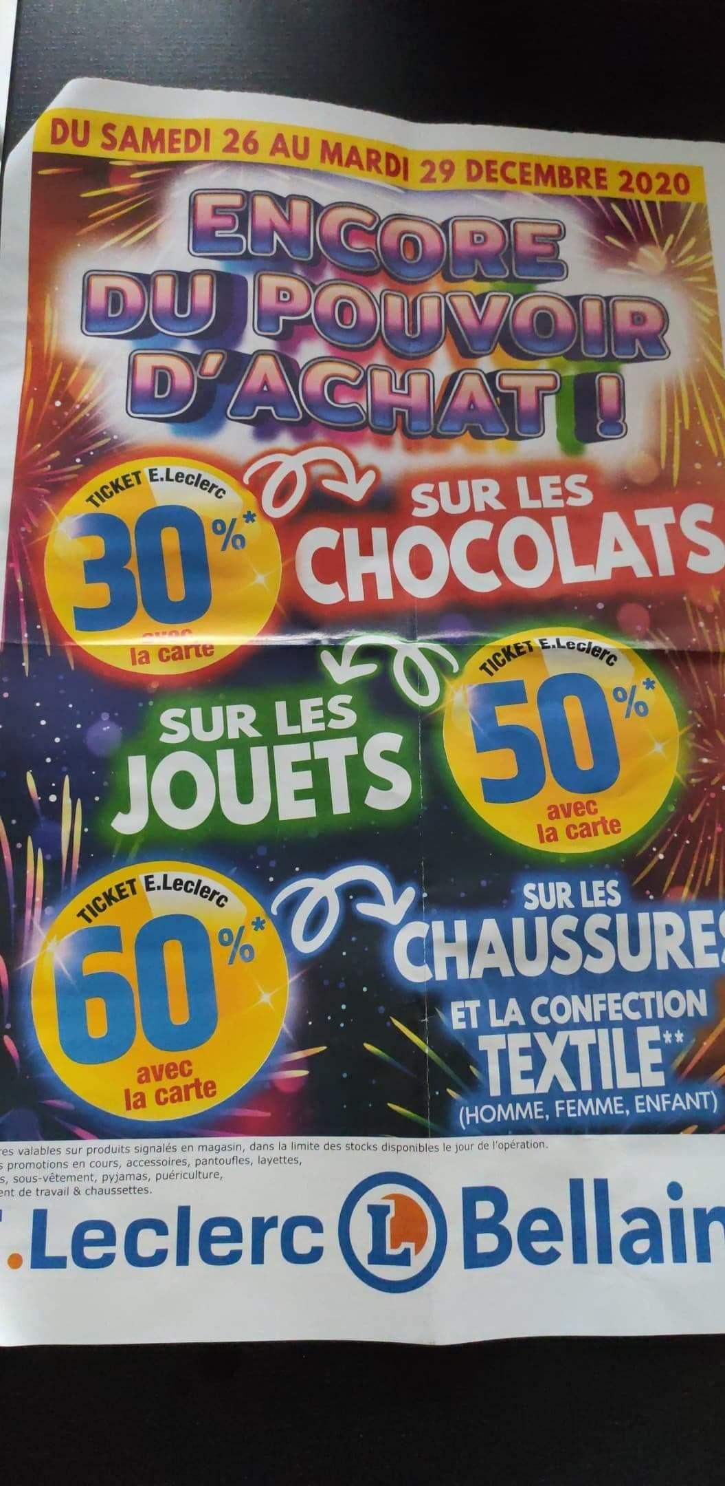 50% offerts en tickets Leclerc sur les jouets et 60% sur le textile - Bellaing (59)