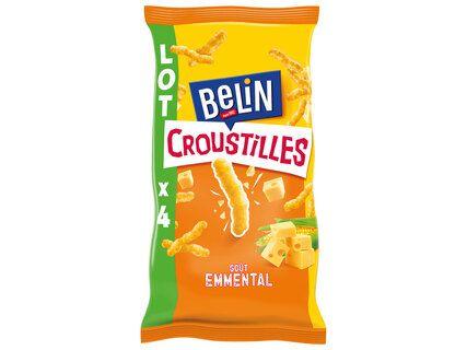 Lot de 4 paquets Belin Croustilles goût Emmental - 4 x 138g