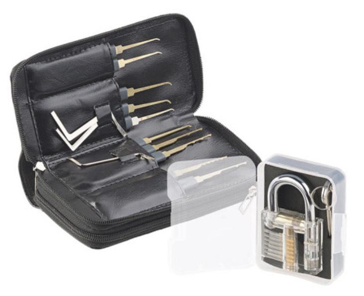 Kit de crochetage 30 pièces avec serrure d'entraînement et étui AGT