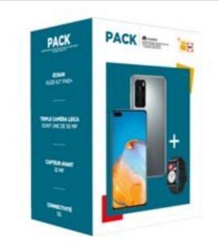 """Pack Smartphone 6.1"""" Huawei P40 - Double SIM, 128 Go 5G Gris + Montre connectée Huawei Watch Fit Noir (Sans Services Google)"""