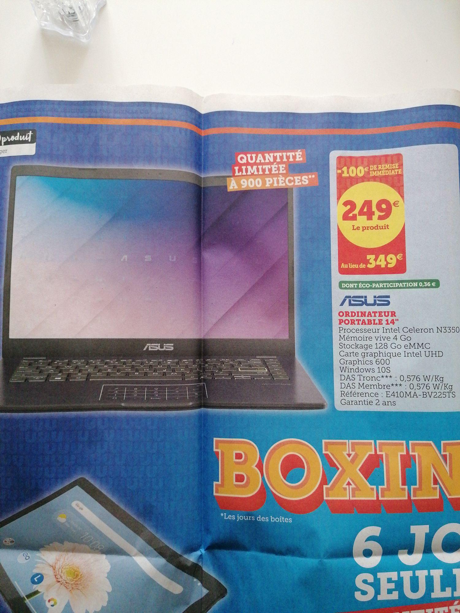 "PC Portable 14"" Asus - Celeron N3350, RAM 4Go, Stockage 128Go eMMC, Intel UHD 600, Windows 10S"