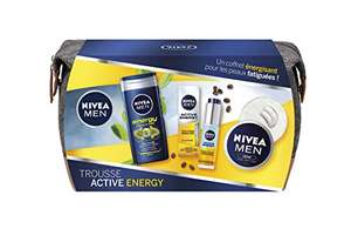 Pack Trousse de toilette Nivea Men Active Energy + 3 Soins Visage et Corps