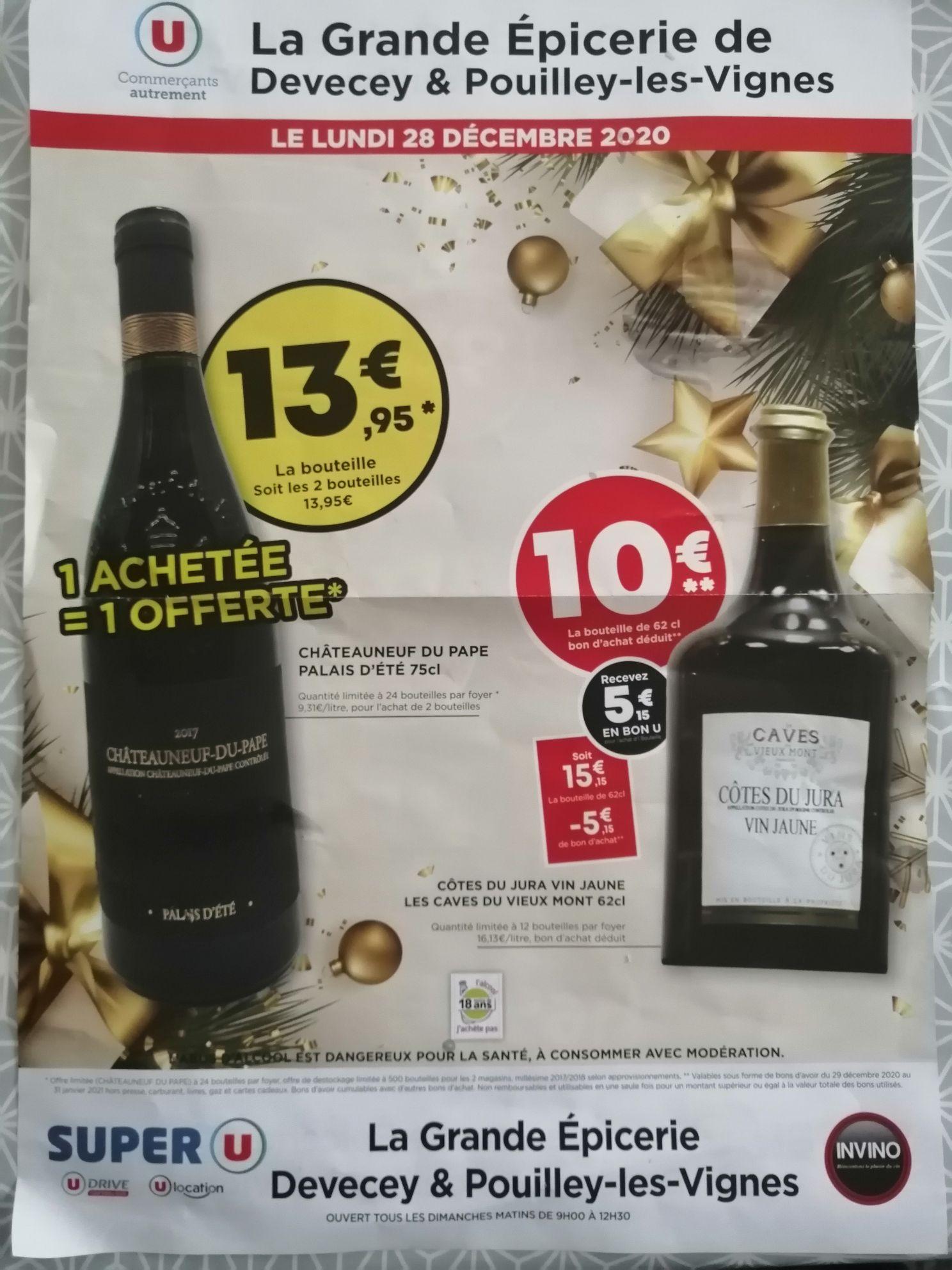 Lot de 2 bouteilles de vin Châteauneuf-du-Pape Palais d'Été (75 cl) - Devecey / Pouilley-les-Vignes (25)