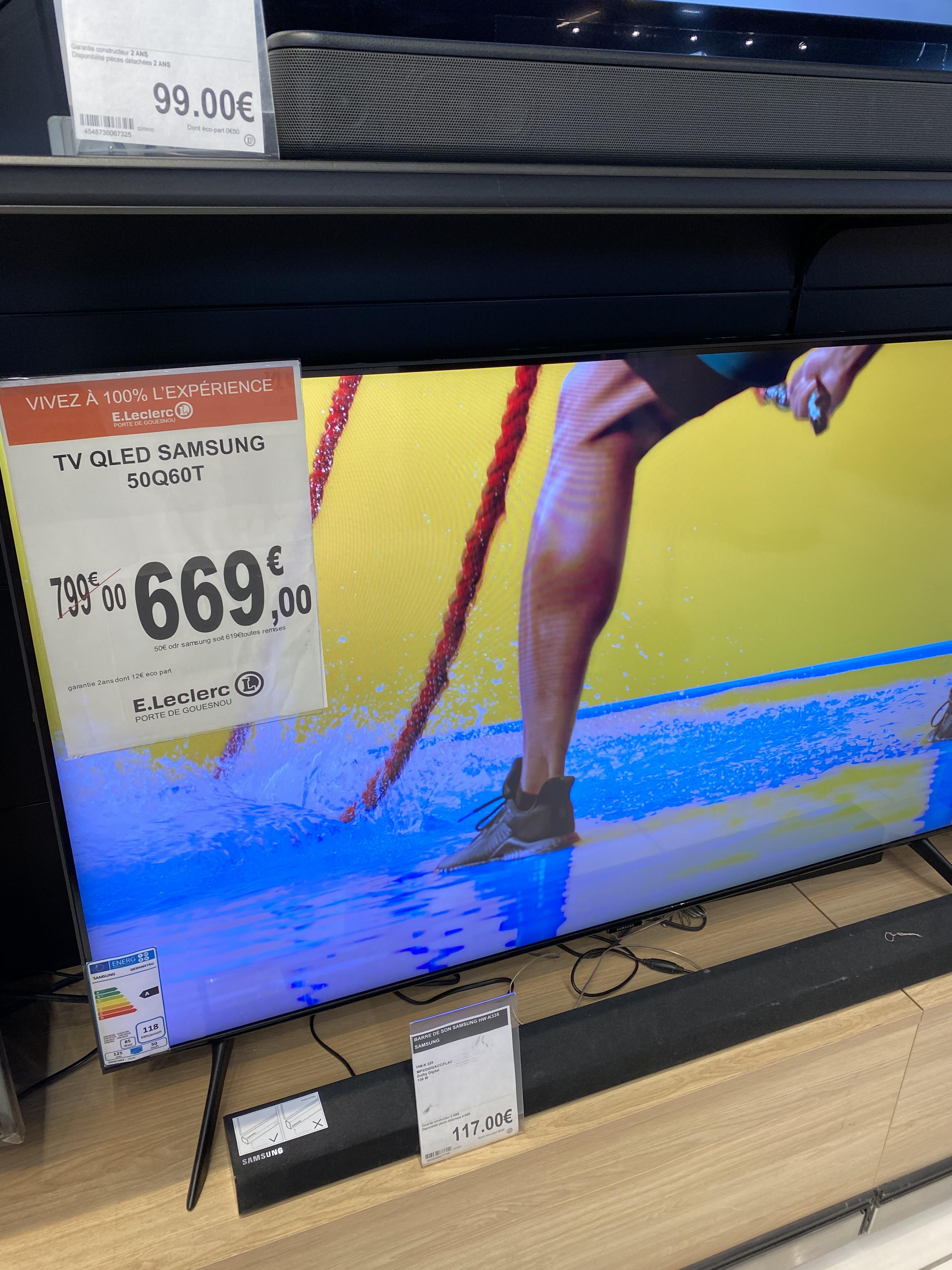 """TV 50"""" Samsung QE50Q60T - 4K UHD, QLED, Smart TV (via ODR de 50€) - Brest (29)"""