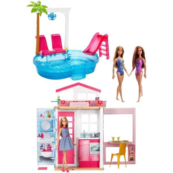 Jouet Mattel Maison Barbie avec 3 poupées