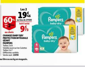 Lot 2 Paquets de Couches Pampers Baby Dry Géant