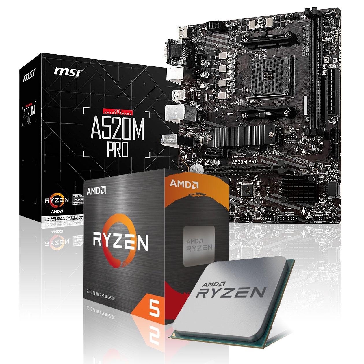 Kit Evo PC - Processeur AMD Ryzen 5 5600X (6 x 3.7 GHz) + Carte Mère MSI A520M-A Pro