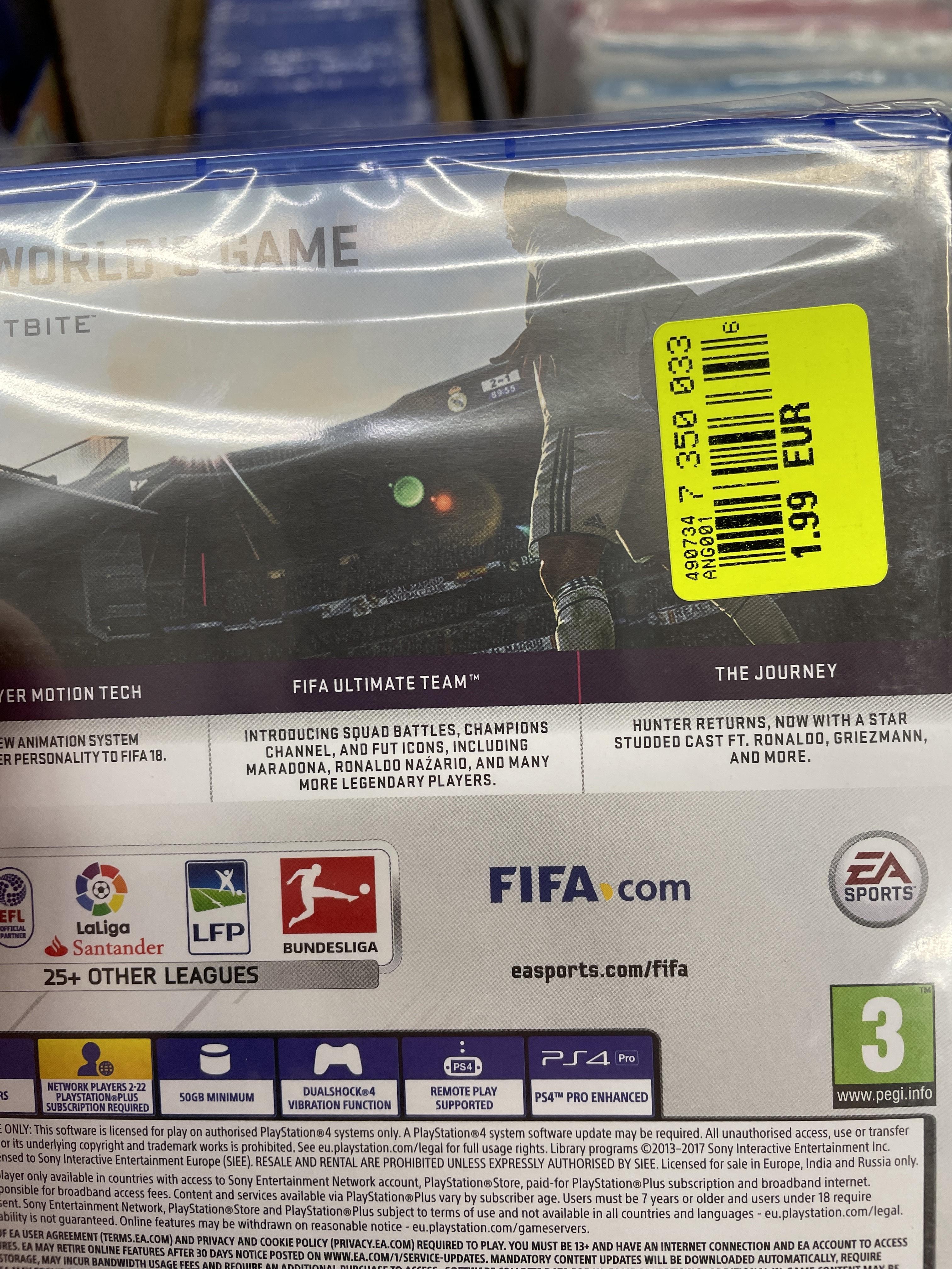 Jeu Fifa 18 sur PS4 à 1.99€ et Destiny 2 à 4.5€ - Provins (77)