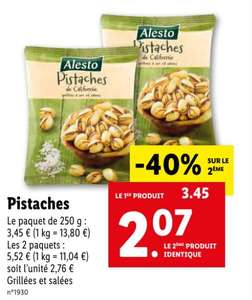 Lot de 2 paquets de pistaches Alesto - 2 x 250g