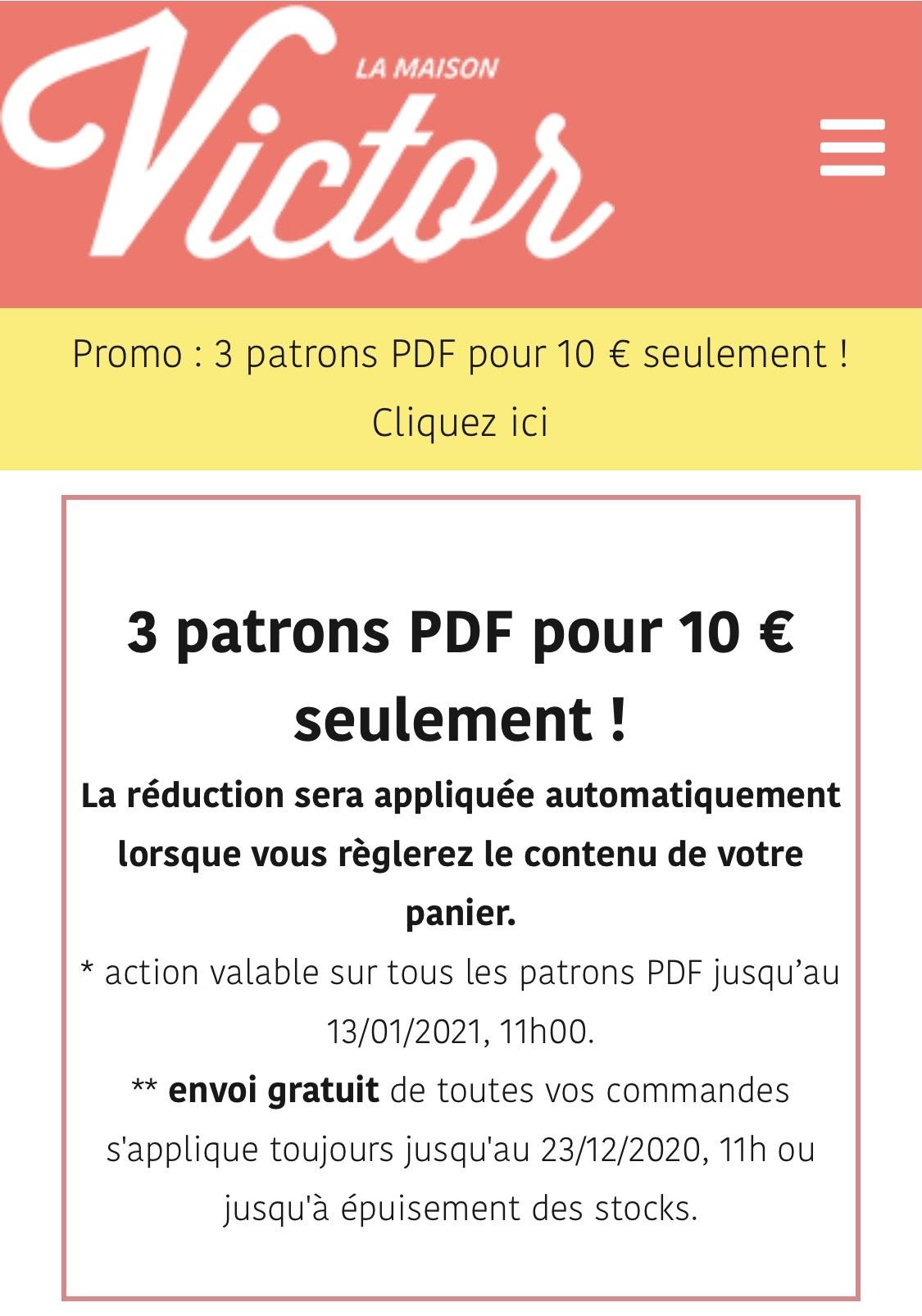 3 Patrons de couture PDF au choix pour 10€ (lamaisonvictor.com)