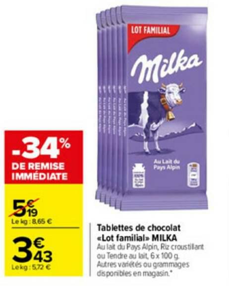 Lot de 6 tablettes de chocolat Milka - différentes variétés, 6 x 100 g