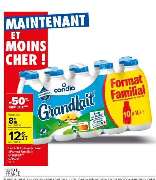 2 packs de 10 bouteilles de lait Candia Granlait - 20x1 L