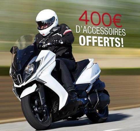 400€ d'accessoires offerts (parmi une sélection) pour l'achat d'un scooter Kymco Downtown 125I ABS