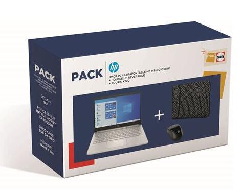 """[Adhérents] PC Portable 14"""" HP 14s-dq1036nf - i3 1005G1, 8 Go RAM, 256 Go SSD, W10S + Housse HP réversible + Souris sans fil HP 220"""