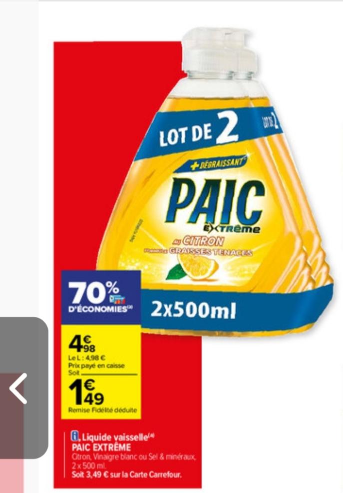 Lot de 2 bouteilles de liquide vaisselle Paic Extrême - 2x 500ml (Via 3.49€ sur la carte fidélité)