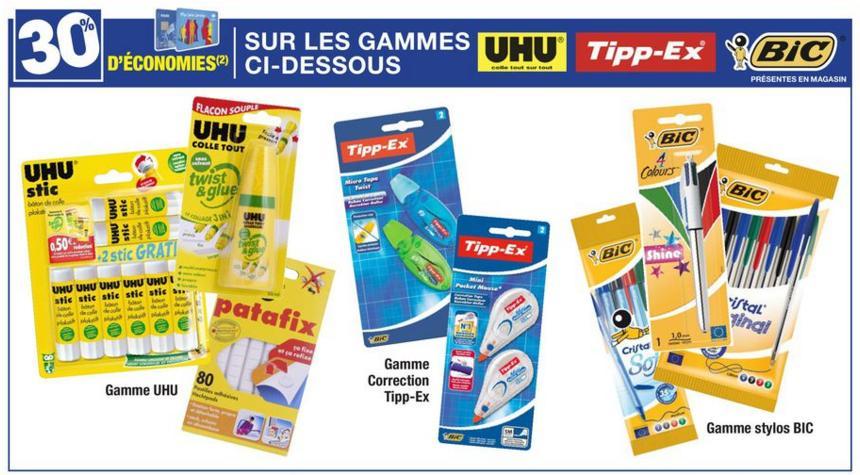 30% crédités sur la carte Carrefour sur les marques UHU, Tippex et Bic - Ex: Pack de stylos Bic cristal original