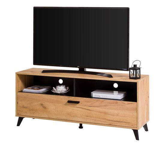 Meuble TV style industriel Umbria - décor imitation chêne, noir