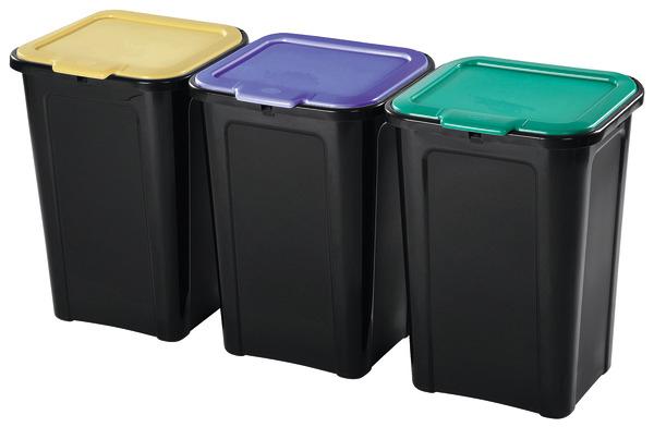 Lot de 3 poubelles de tri - 3x45 L
