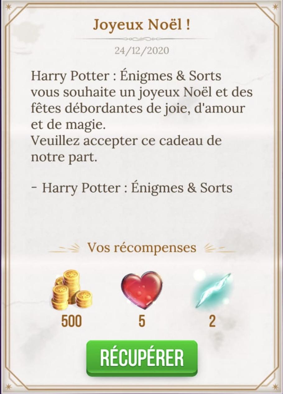 Contenu pour le jeu Harry Potter - Énigmes & Sorts : 500 pièces en or, 5 cœurs et 2 boosters éclairs offerts