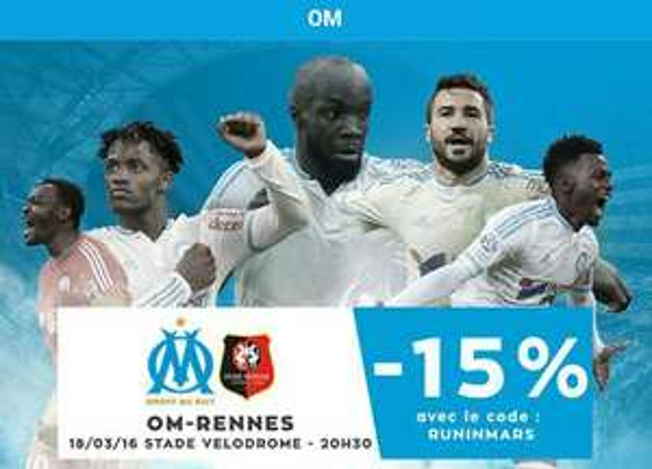 15% de réduction immédiate sur les entrées pour le match OM-Stade Rennais