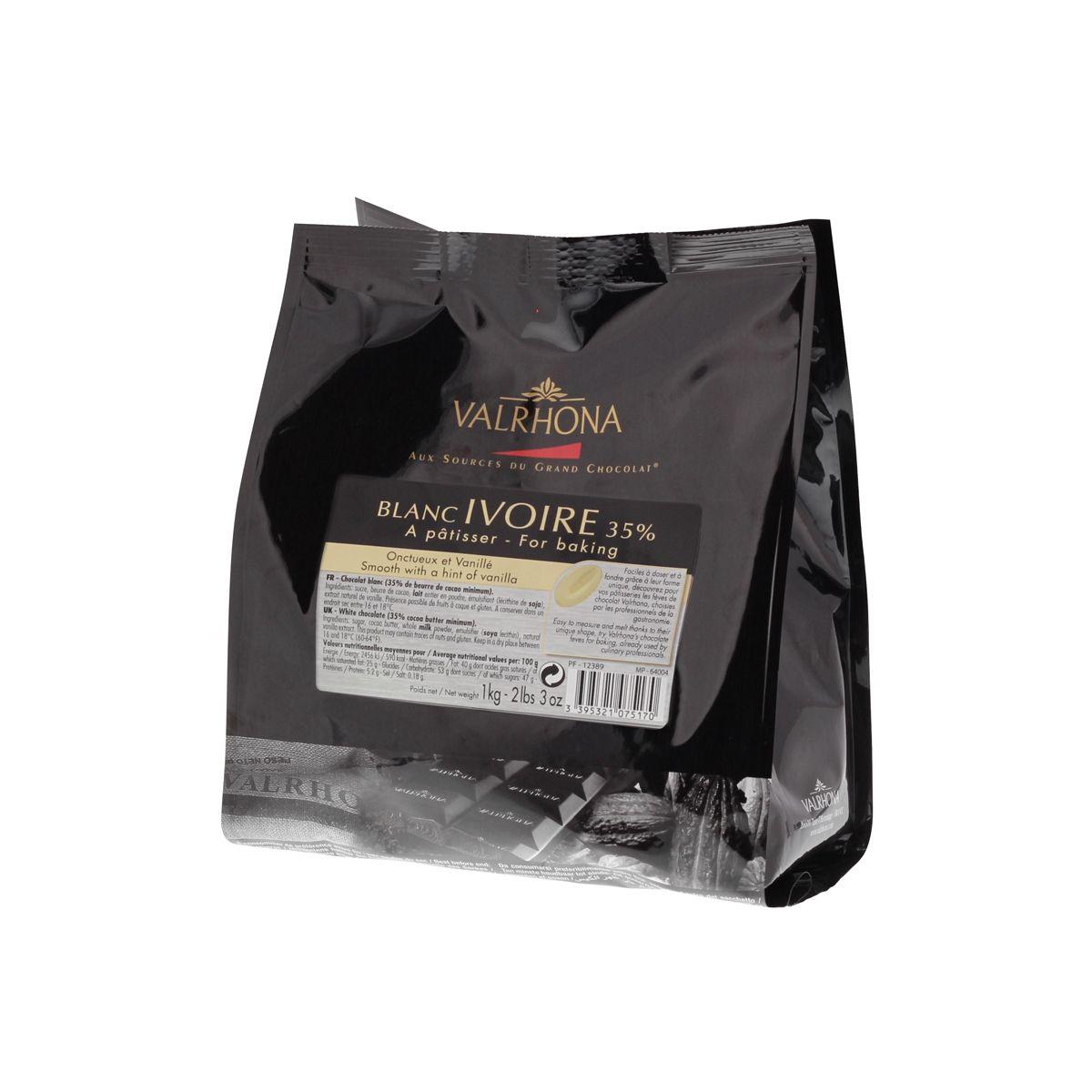 Sac de fèves chocolat blanc ivoire (35% cacao) - 1Kg Valrhona (Dans une sélection de boutiques)