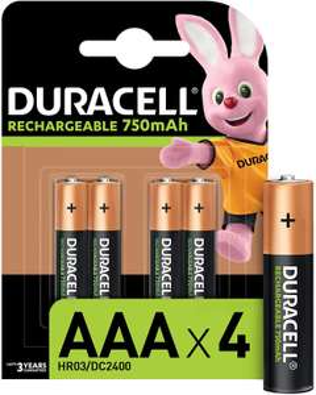 Lot de 4 piles Duracell Piles Rechargeables AAA 750 Mah
