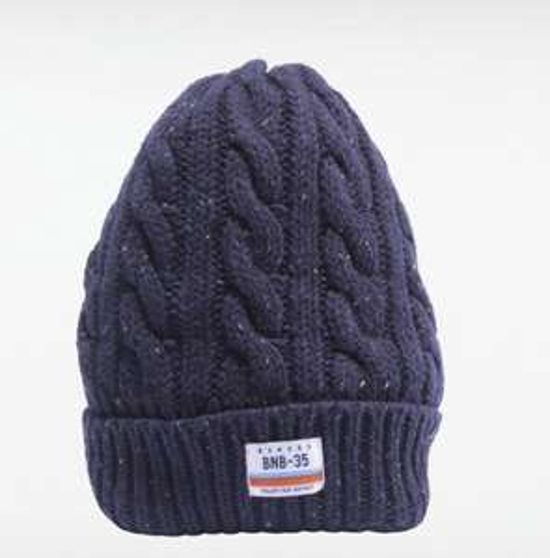 Bonnet tricoté à torsades homme - Bleu marine / gris foncé (Via livraison magasin)