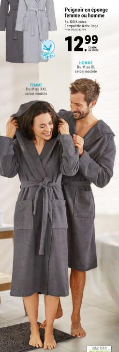 Peignoir 100% coton homme ou femme (tailles et coloris au choix)