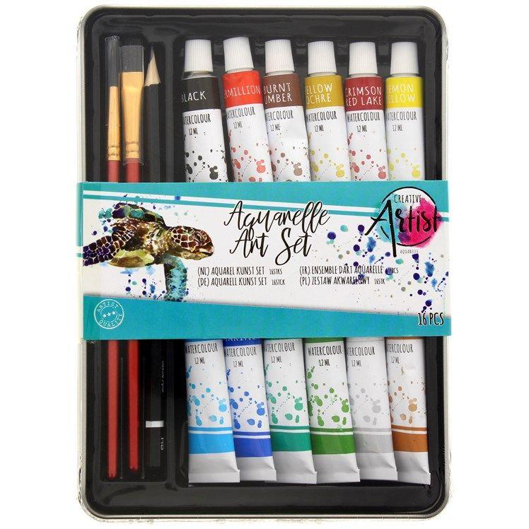 Kit peinture aquarelles Creative Artist (16 pièces)