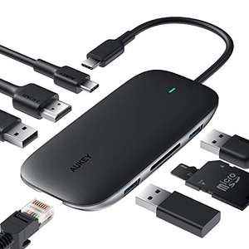 Hub USB type-C Aukey 8-en-1 - HDMI, lecteur cartes SD / microSD, RJ45, 3 ports USB, USB type-C (vendeur tiers)