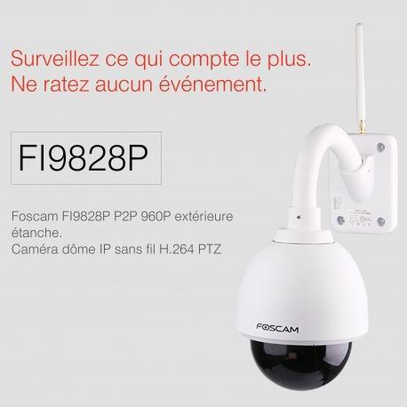 Camera IP Foscam FI9828P - Wifi, HD, extérieure, motorisée, infrarouge
