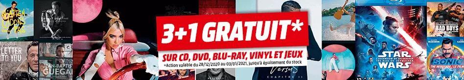 3 Blu-ray / CDs / DVDs / jeux vidéo / vinyles achetés = 1 offert, le moins cher (frontaliers Belgique)