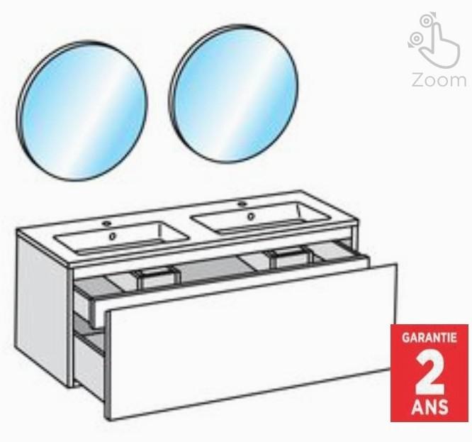 Pack Meuble sous vasque + Plan Vasque en céramique + 2 miroirs Bulle - L.120 cm