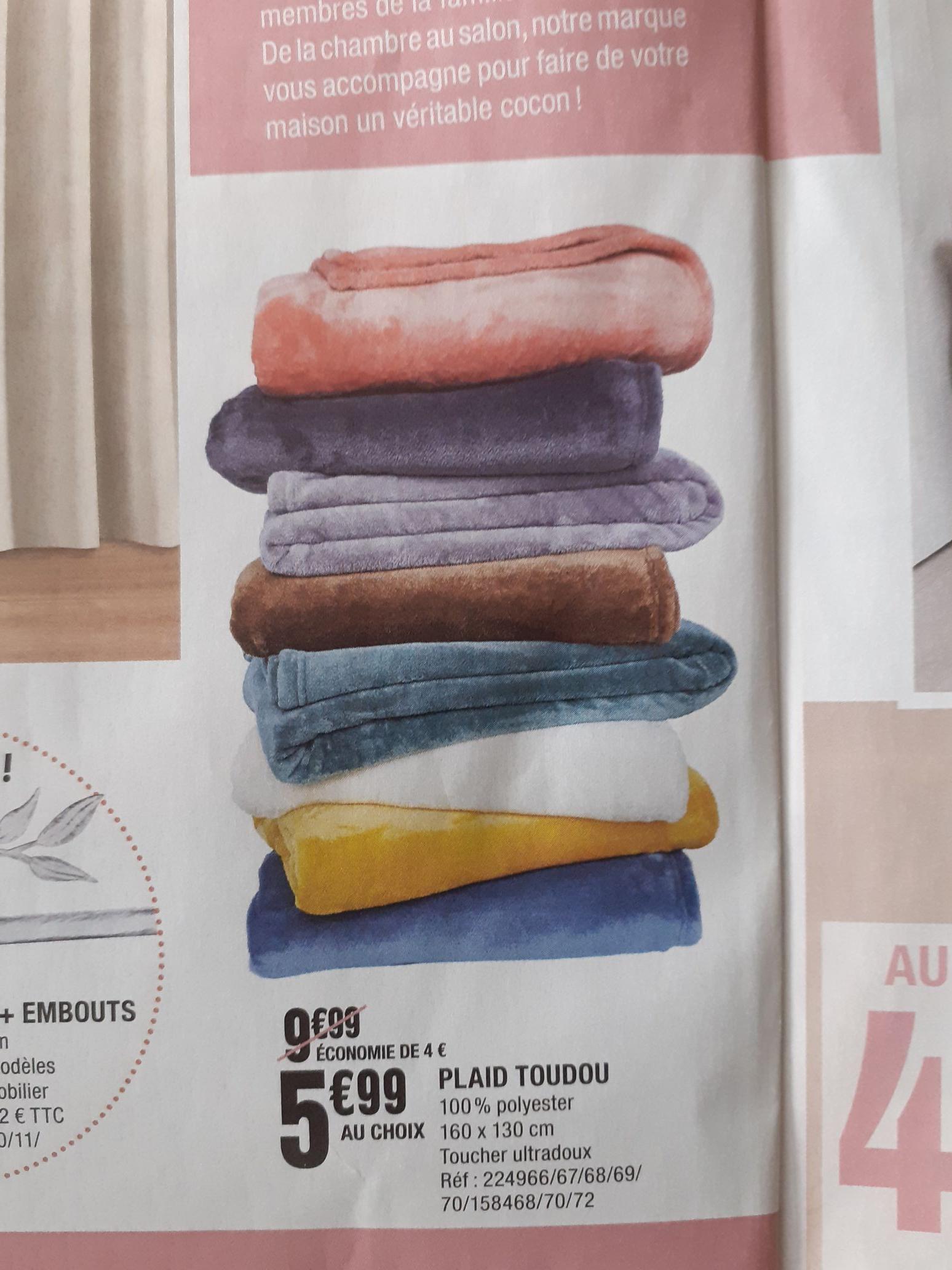 Plaid Toudou 100% polyester - 160 x 130 cm (Plusieurs coloris)