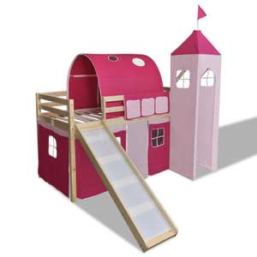 Lit mezzanine toboggan château princesse