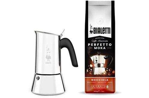 Cafetière italienne Bialetti Moka Venus + sachet café noisettes 200 g (Retrait magasin)